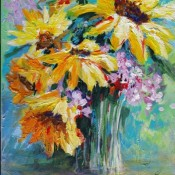 Dahlias, (ID#320) 12 x 16 Acrylic on canvas