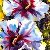 Hibiscus, (ID#317) 12.5 x 10 Mixed medium on board
