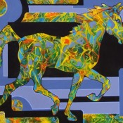 Horse of a Different Colour, (ID#126) 30 x 40 Acrylic and Ink on gallery canvas
