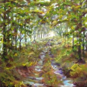 Along the Hedgerow, (ID#407) 16 x 20 acrylic on canvas