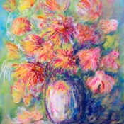 Bouquet of Chrysanthemums, (ID#311) 13 x 16 mixed medium on hard board. SOLD