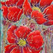 Poppin' Poppies, (ID#318) 30 x 40 Acrylic & Ink on gallery canvas