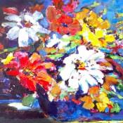 "Fresh Flowers, (ID#309) 14"" x 18"" Acrylic on canvas. SOLD"
