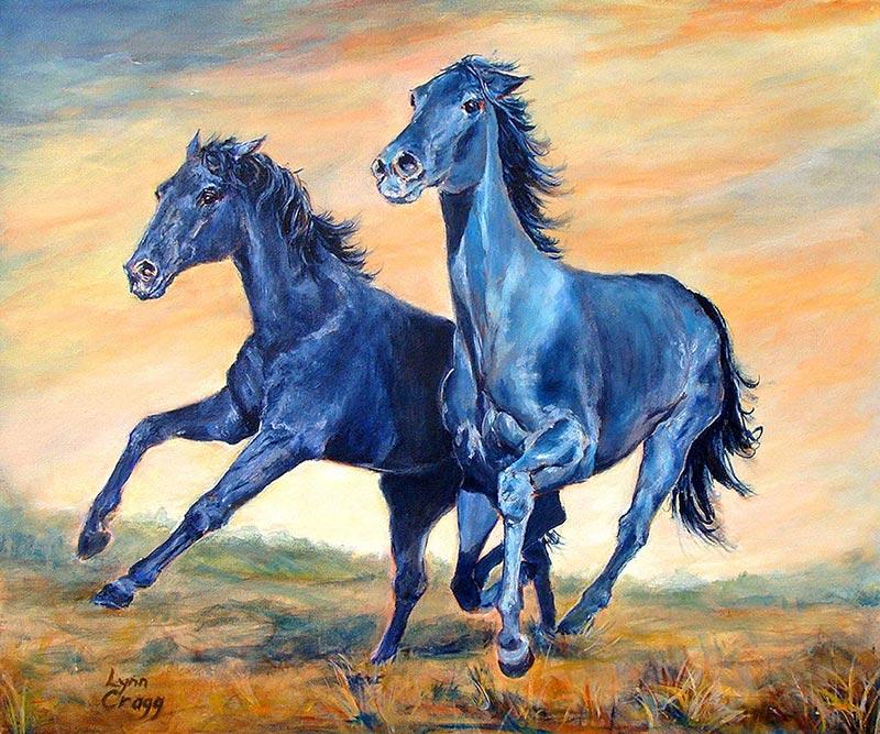 "Plains Runners, (ID#114) 18""x24"" Acrylic on canvas"