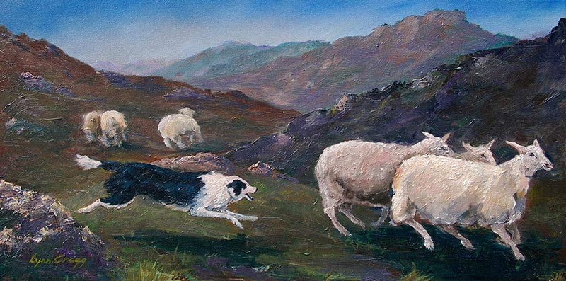 Highland Round Up, (ID#209) 12 x 24 oil on canvas. SOLD