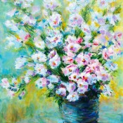 Spring Flowers, (ID#301) 18 x 20 acrylic on gallery. SOLD