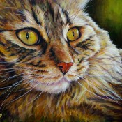 Cat, (ID#206) 18 x 20 acrylic on canvas, Available as Giclee