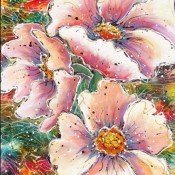 Flower Show, (ID#319) 30 x 40 Acrylic & Ink on gallery canvas