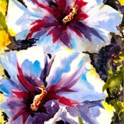 Hibiscus, (ID#317) 12.5 x 10 Mixed medium on board
