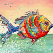 Fantasy Fish, (ID#501) 8 x 10 Acrylic on Canvas board. SOLD