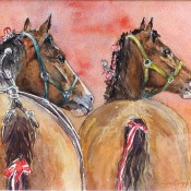 Molly & Jibb (between classes at the Port Hope Fair), (ID#107) 8 1/2 x 11 Watercolour