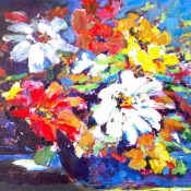 "Fresh Flowers, (ID#309) 14"" x 18"" Acrylic on canvas. SOLD"