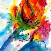 Tulip Buds, (ID#316) 8 x 10 Mixed medium on gallery canvas